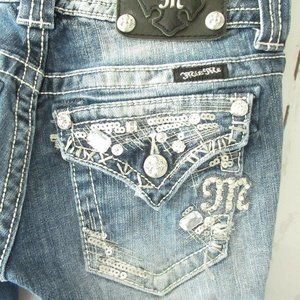 Miss Me Jeans 25 Easy Boot Rhinestone Sequin Flap